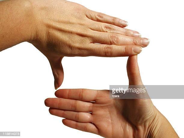 Hände, die Rahmung