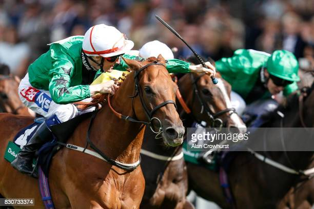Fran Berry riding Golden Apollo win The Dubai Duty Free Shergar Cup Sprint at Ascot racecourse on Shergar Cup Day on August 12 2017 in Ascot England