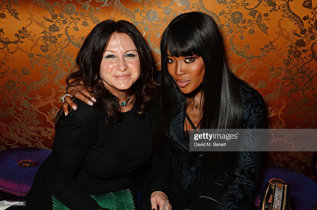 Fran Cutler (L) and Naomi Campbell attend the Marc Jacobs Beauty dinner at the Club at Park Chinois on February 20, 2016 in London, England.