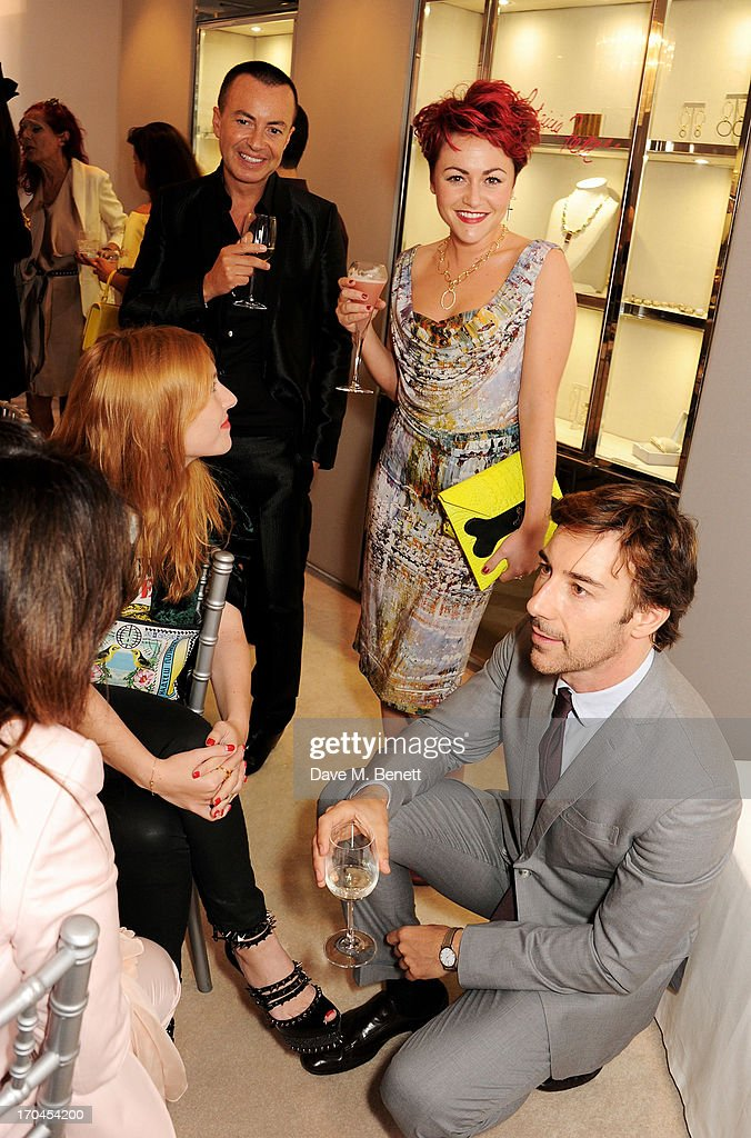 Fran Cutler, Josephine de la Baume, Julien Macdonald, Jaime Winstone and Roberto Faraone Mennella attend the 12th birthday of New York jewellery house Faraone Mennella, with guest of honour Patricia Field, at their Knightsbridge store on June 13, 2013 in London, England.