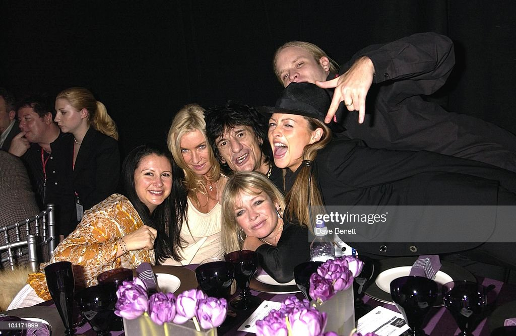 Fran Cutler, Meg Mathews, Ronnie Wood And Wife Jo Howard, And Jamie Wood, The Grand Prix Ball At The Royal Albert Hall And He After Party At The Royal College Of Art, Celebraties Joined Motor Racing People To Help Raise Money For Doctor Sid Watkins Charity The Brain And Spine Foundation