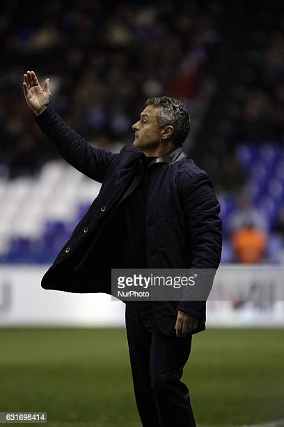 Fran Escribá coach of Villareal Club de Futbol reacts during the spanish league La Liga Santander match between Real Club Deportivo de La Coruna vs...