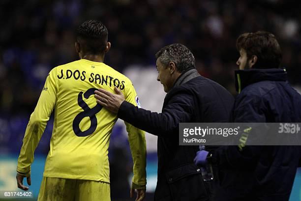 Fran Escribá coach of Villareal Club de Futbol talks with Jonathan Dos Santos of Villareal Club de Futbol during the spanish league La Liga Santander...