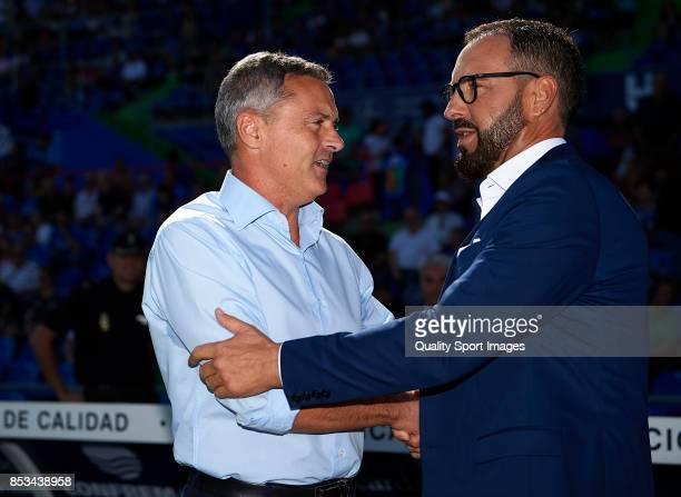 Fran Escriba manager of Villarreal and Jose Bordalas manager of Getafe greet prior to the La Liga match between Getafe and Villarreal at Coliseum...