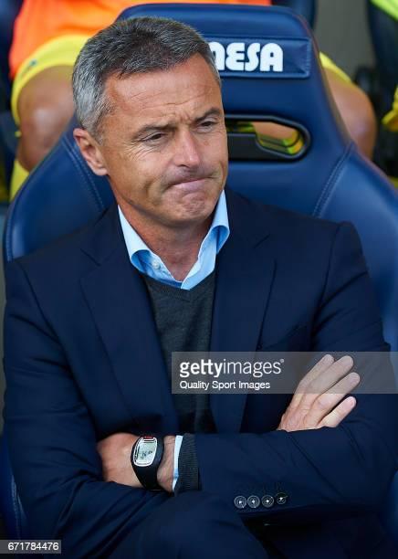 Fran Escriba Manager of Villarreal looks on prior the La Liga match between Villarreal CF and CD Leganes at Estadio de la Ceramica on April 22 2017...