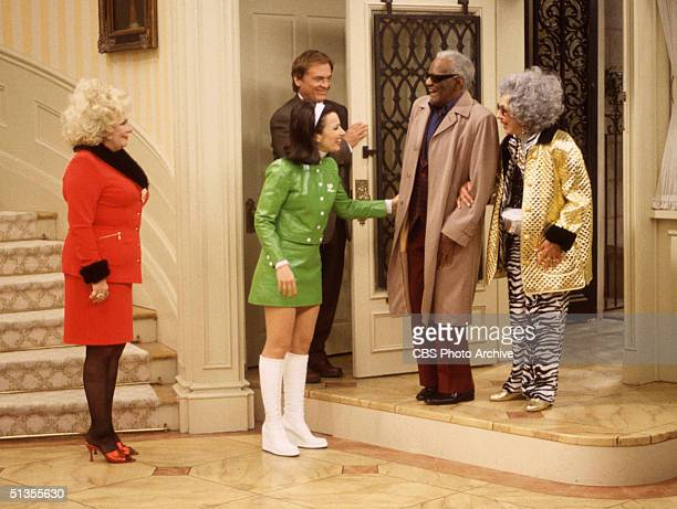 Fran greets Sammy Portnoy portrayed by American singer Ray Charles at the door in a scene from 'The Nanny' episode 'Fair Weather Fran' Los Angeles...