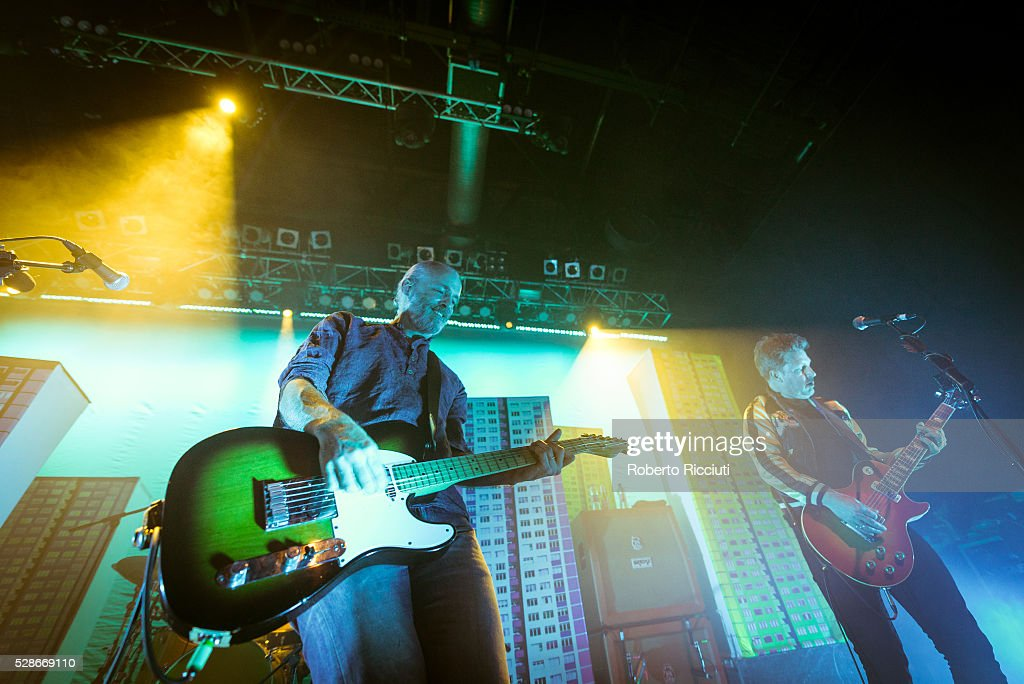 Fran Healy and Andy Dunlop of Scottish rock band Travis perform live on stage at O2 ABC Glasgow on May 6, 2016 in Glasgow, Scotland.