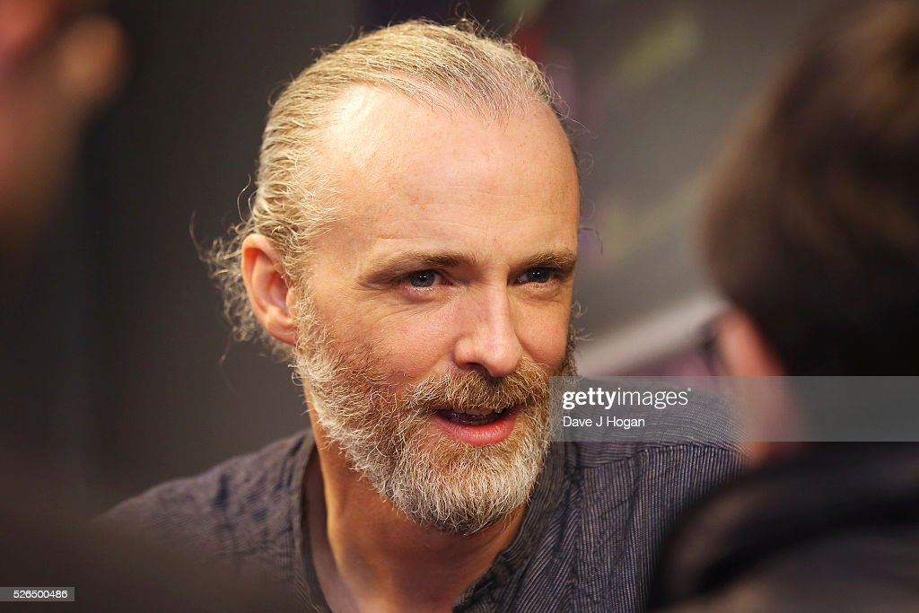 Fran Healy of Travis meets with fans after performing songs from the new album 'Everything At Once' at HMV Oxford Street on April 30, 2016 in London, England.
