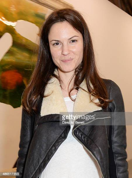 Fran Hickman attends a private view of 'Julian Schnabel Every Angel Has A Dark Side' in aid of Chickenshed at The Dairy Art Centre on April 24 2014...
