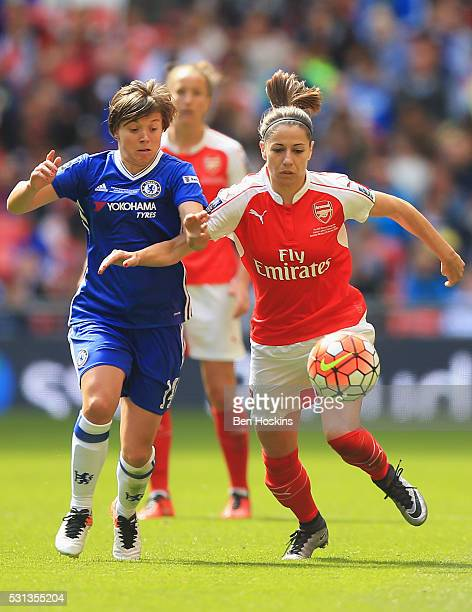 Fran Kirby of Chelsea and Vicky Losada of Arsenal battle for the ball during the SSE Women's FA Cup Final between Arsenal Ladies and Chelsea Ladies...