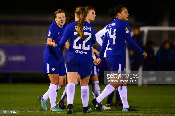 Fran Kirby of Chelsea celebrates with her team mates after she scores to make it 20 during a Continental Tyres Cup Match between Chelsea Ladies and...