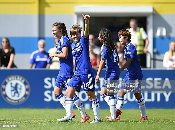 Fran Kirby of Chelsea Ladies FC celebrates her goal during the FA Women's Super League match between Chelsea Ladies FC and Birmingham City Ladies at...