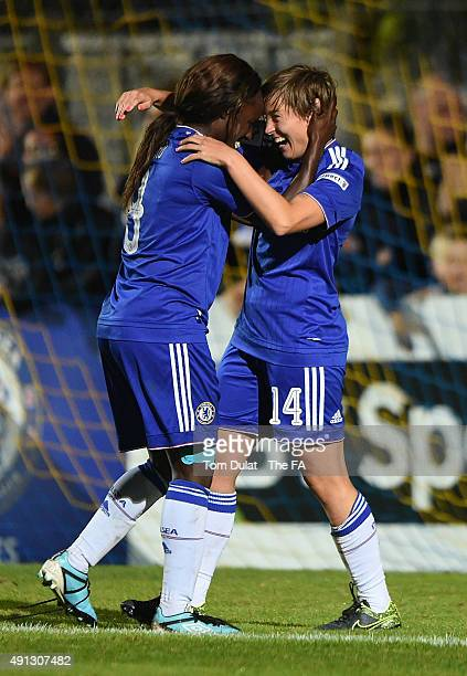 Fran Kirby of Chelsea Ladies FC celebrates her goal with Aniola Aluko during the Women's Super League match between Chelsea Ladies FC and Sunderland...