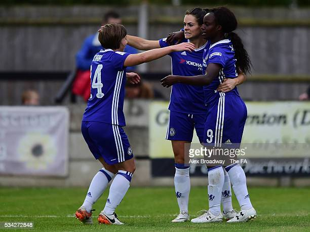 Fran Kirby of Chelsea Ladies FC celebrates scoring her team's second goal with team mates Claire Rafferty and Eniola Aluko during the FA WSL 1 match...