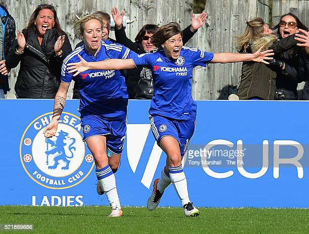 Fran Kirby of Chelsea Ladies FC celebrates scoring the winning goal in extra time during the SSE Women's FA Cup Semifinal match between Chelsea...