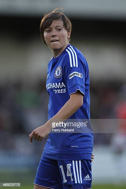 Fran Kirby of Chelsea Ladies FC during the FA WSL match between Arsenal Ladies FC and Chelsea Ladies FC at Meadow Park on August 23 2015 in...