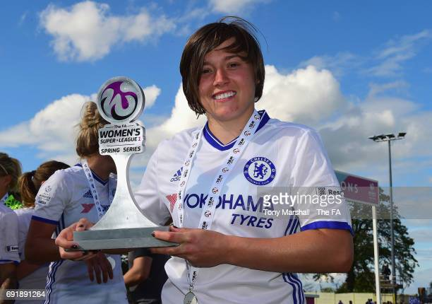 Fran Kirby of Chelsea Ladies FC poses with the trophy after winning the WSL Spring Series during the WSL 1 match between Birmingham City Ladies and...