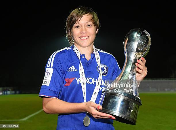 Fran Kirby of Chelsea Ladies FC poses with the trophy during the Women's Super League match between Chelsea Ladies FC and Sunderland AFC Ladies at...