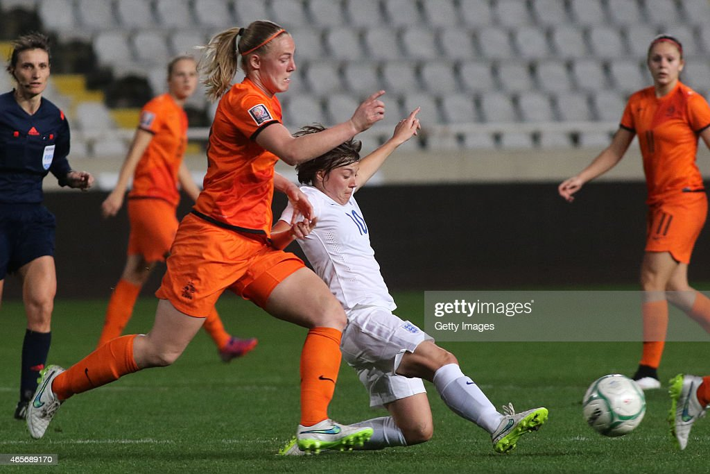 Fran Kirby of England and Manieke Dekker of Netherlands in action during the Cyprus Cup match between England and Netherlands at GSP stadium on March...