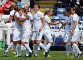 Fran Kirby of England celebrates scoring during the Women's International Friendly match between England and Sweden at Victoria Park on August 3 2014...