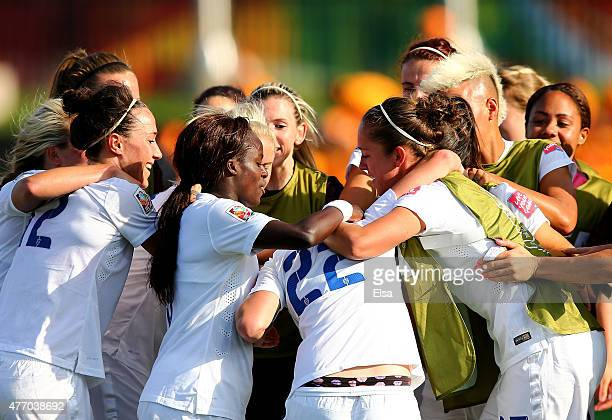 Fran Kirby of England is surrounded by her teammates after she scored in the second half against Mexico during the FIFA Women's World Cup 2015 Group...