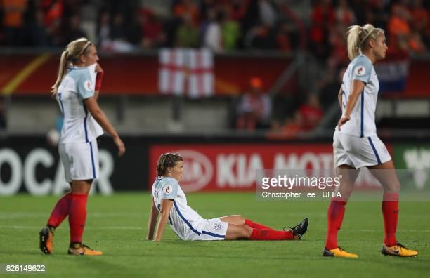 Fran Kirby of England looks dejected following the UEFA Women's Euro 2017 Semi Final match between Netherlands and England at De Grolsch Veste...