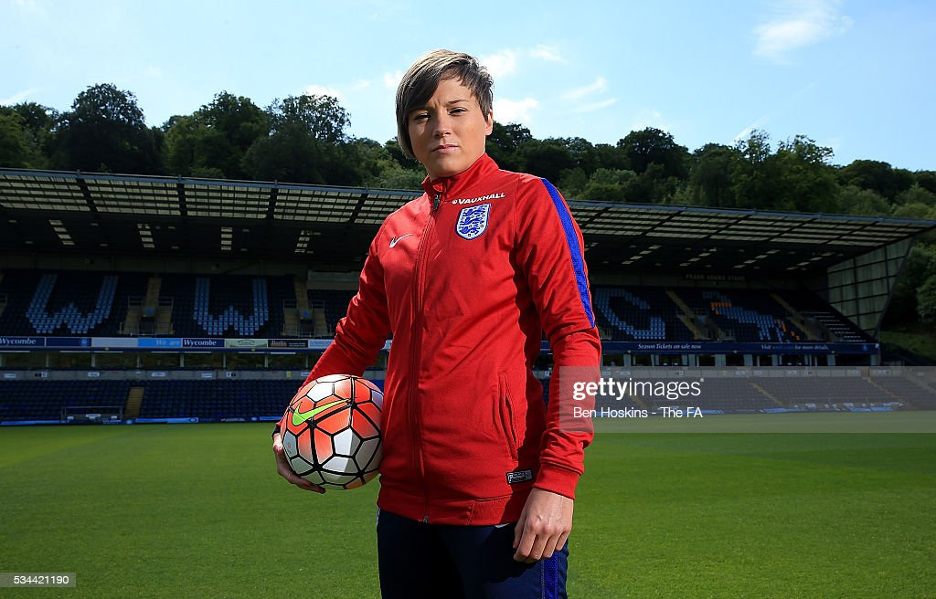 <a gi-track='captionPersonalityLinkClicked' href=/galleries/search?phrase=Fran+Kirby&family=editorial&specificpeople=13446833 ng-click='$event.stopPropagation()'>Fran Kirby</a> of England poses for a picture during the England Women v Serbia Women: Media Day on May 26, 2016 in High Wycombe, England.