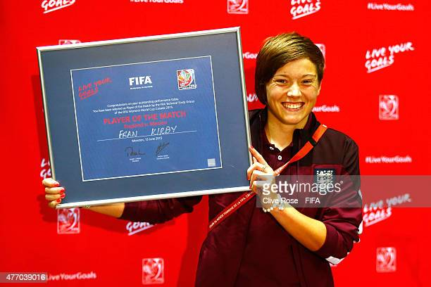 Fran Kirby of England poses with the 'Player of the Match' award after the FIFA Women's World Cup 2015 Group F match between England and Mexico at...