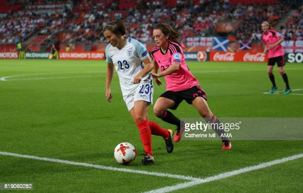 Fran Kirby of England Women and Chloe Arthur of Scotland Women during the UEFA Women's Euro 2017 match between England and Scotland at Stadion...