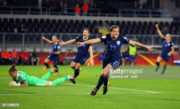 Fran Kirby of England Women celebrates after she scores a goal to make it 10 during the UEFA Women's Euro 2017 match between England and Spain at Rat...