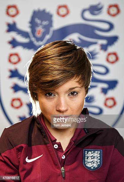 Fran Kirby of Reading and England footballer poses for a portrait in the tunnel at Wembley Stadium on December 11 2014 in LondonEngland