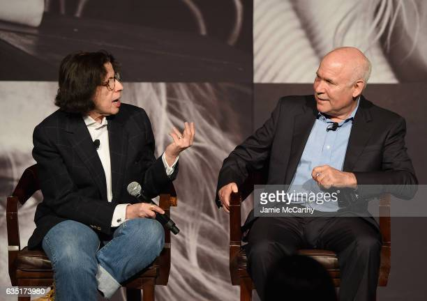 Fran Lebowitz and Steve McCurry attend The Pirelli Calendar Presents Peter Lindbergh On Beauty panel at Cipriani Wall Street on February 13 2017 in...