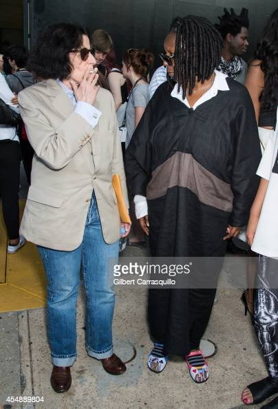 Fran Lebowitz and Whoopi Goldberg are seen at Diane Von Furstenberg fashion show during MercedesBenz Fashion Week Spring 2015 at Spring Studios on...