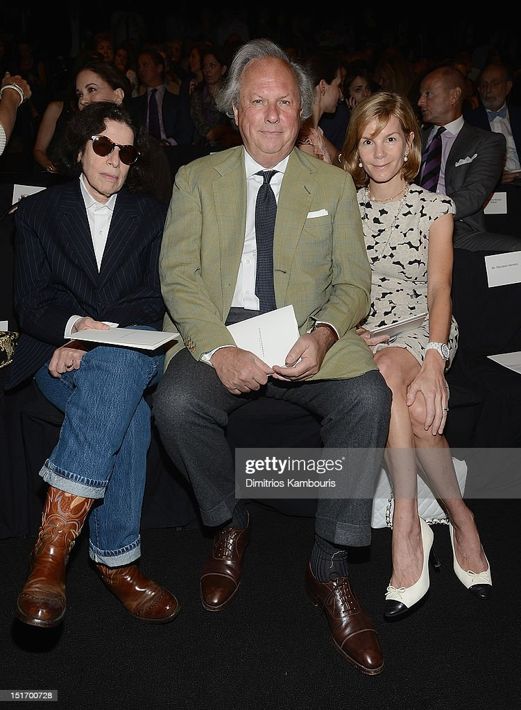 Fran Leibowitz, Vanity Fair Editor-In-Chief Graydon Carter and Anna Scott Carter attend the Carolina Herrera show during Spring 2013 Mercedes-Benz Fashion Week at The Theatre Lincoln Center on September 10, 2012 in New York City.