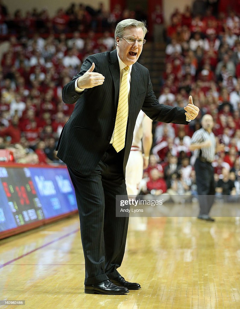 Fran McCaffery the head coach of the Iowa Hawkeyes gives instructions to his team during the game against the Indiana Hoosiers at Assembly Hall on March 2, 2013 in Bloomington, Indiana.