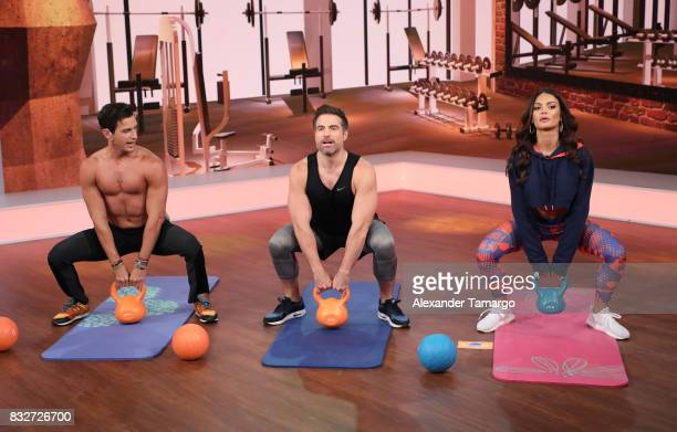 Fran Medina Roberto Manrique and Zuleyka Rivera are seen on the set of 'Un Nuevo Dia' at Telemundo Studios on August 16 2017 in Miami Florida