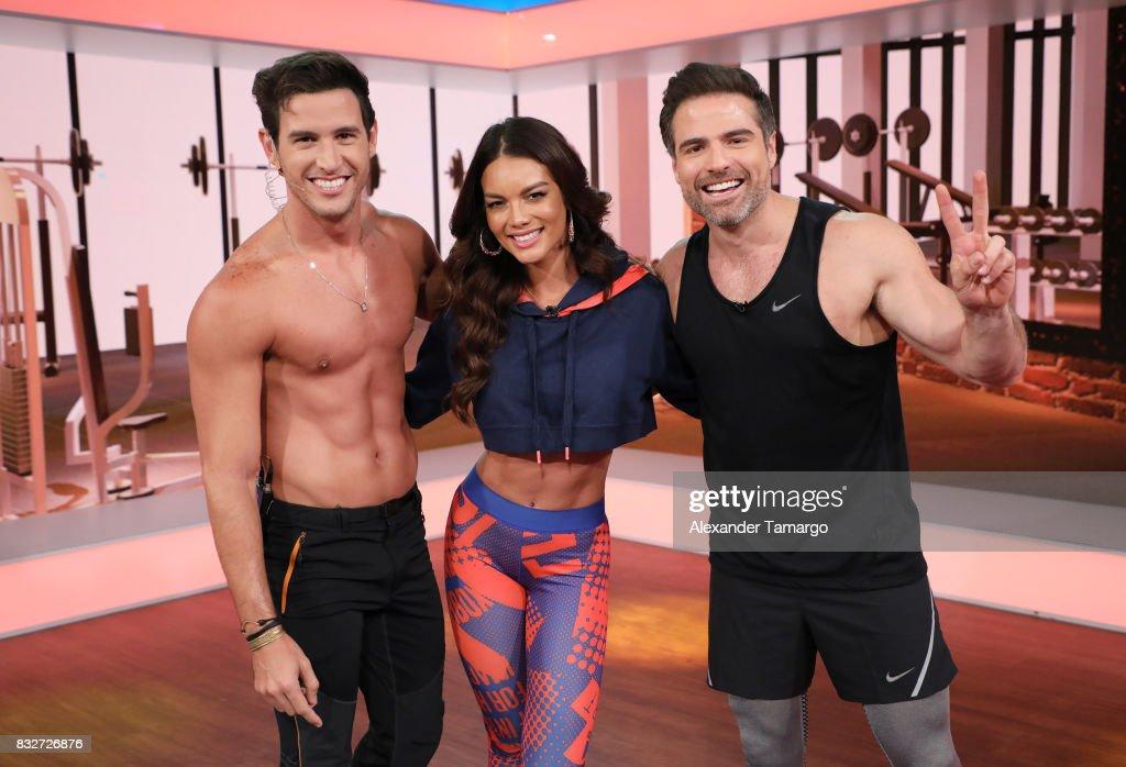 Fran Medina, Roberto Manrique and Zuleyka Rivera are seen on the set of 'Un Nuevo Dia' at Telemundo Studios on August 16, 2017 in Miami, Florida.
