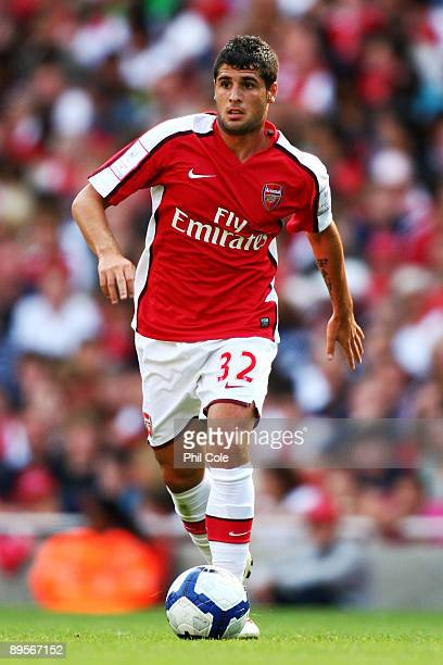 Fran Merida of Arsenal runs with the ball during the Emirates Cup match between Arsenal and Glasgow Rangers at the Emirates Stadium on August 2 2009...