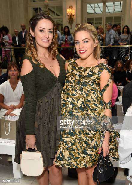Fran NewmanYoung and Olivia Cox attend the Paul Costelloe catwalk show during London Fashion Week at The Waldorf London on September 18 2017 in...