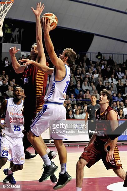 Fran Pilepic of Red October competes with Tomas Ress and Ariel Filloy of Umana during the LegaBasket of Serie A1 match between Reyer Umana Venezia...
