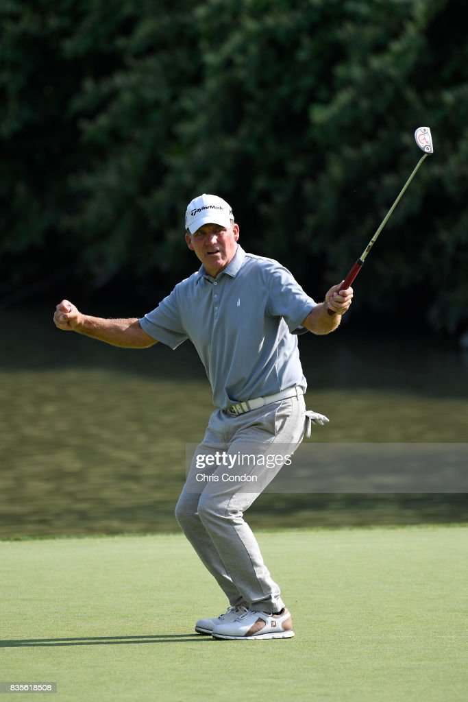 Fran Quinn reacts to a missed putt on the 15th green during the second round of the PGA TOUR Champions DICK'S Sporting Goods Open at En-Joie Golf Course on August 19, 2017 in Endicott, New York.