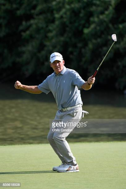 Fran Quinn reacts to a missed putt on the 15th green during the second round of the PGA TOUR Champions DICK'S Sporting Goods Open at EnJoie Golf...