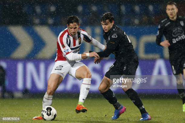 Fran Sol of Willem II Justin Hoogma of Heracles Almeloduring the Dutch Eredivisie match between Willem II Tilburg and Heracles Almelo at Koning...