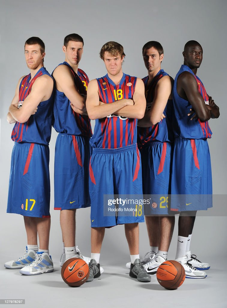 Fran Vazquez, #17, Kosta Perovic, #13, Charles Wallace, #18, Erazem Lorbek, #25 and Boniface Ndong, #21 pose during the FC Barcelona Regal 2011/2012 Turkish Airlines Euroleague Basketball Media day at Palau Blaugrana on October 4, 2011 in Barcelona, Spain.