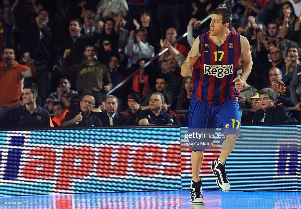 Fran Vazquez, #17 of Regal FC Barcelona celebrates during the 2010-2011 Turkish Airlines Euroleague Top 16 Date 1 game between Regal FC Barcelona vs Maccabi Electra Tel Aviv at Palau Blaugrana on January 20, 2011 in Barcelona, Spain.