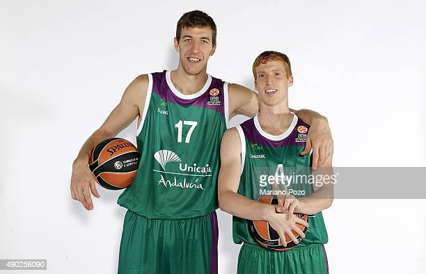 Fran Vazquez #17 of Unicaja Malaga and Stefan Markovic #4 poses during 2015/2016 Turkish Airlines Euroleague Basketball Media Day at Gran Hotel...