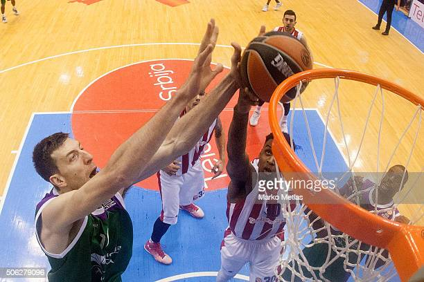 Fran Vazquez #17 of Unicaja Malaga competes with Quincy Miller #30 of Crvena Zvezda Telekom Belgrade during the Turkish Airlines Euroleague...