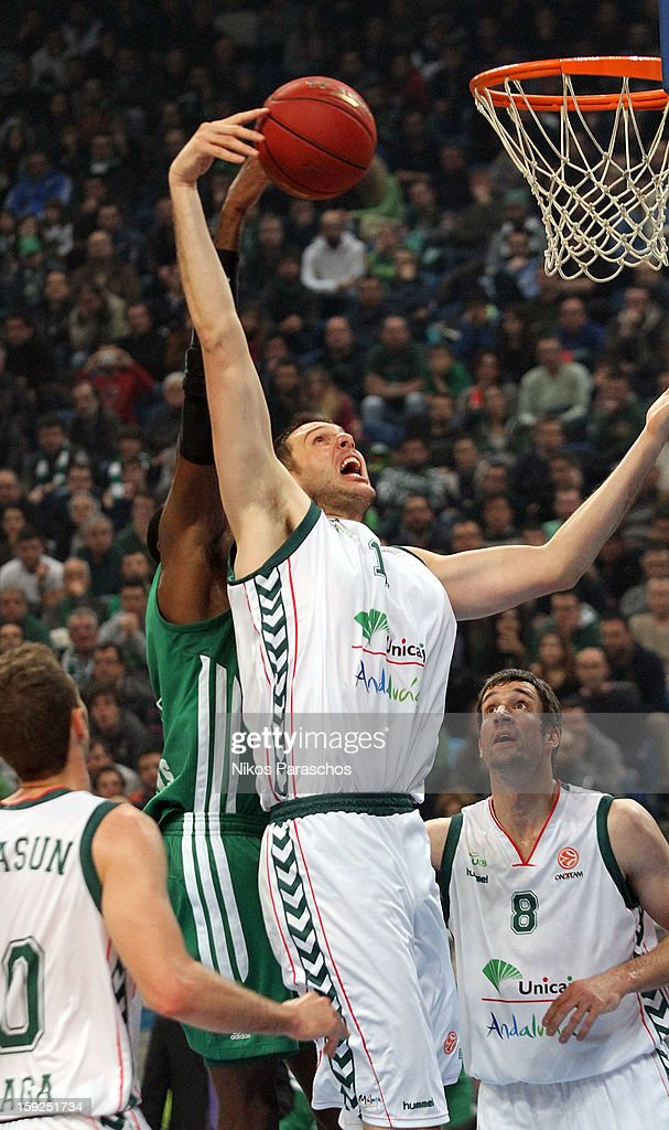 Fran Vazquez, #17 of Unicaja Malaga in action during the 2012-2013 Turkish Airlines Euroleague Top 16 Date 3 between Panathinaikos Athens v Unicaja Malaga at OAKA on January 10, 2013 in Athens, Greece.