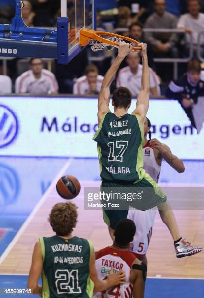 Fran Vazquez #17 of Unicaja Malaga in action during the 20132014 Turkish Airlines Euroleague Regular Season Date 9 game between Unicaja Malaga v FC...