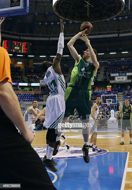 Fran Vazquez #17 of Unicaja Malaga in action during the 20132014 Turkish Airlines Euroleague Top 16 Date 6 game between Unicaja Malaga v...